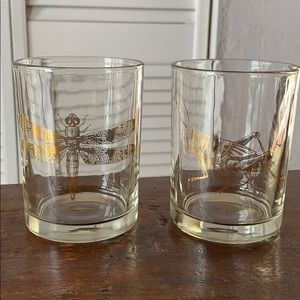 Gold bug glasses set of 2